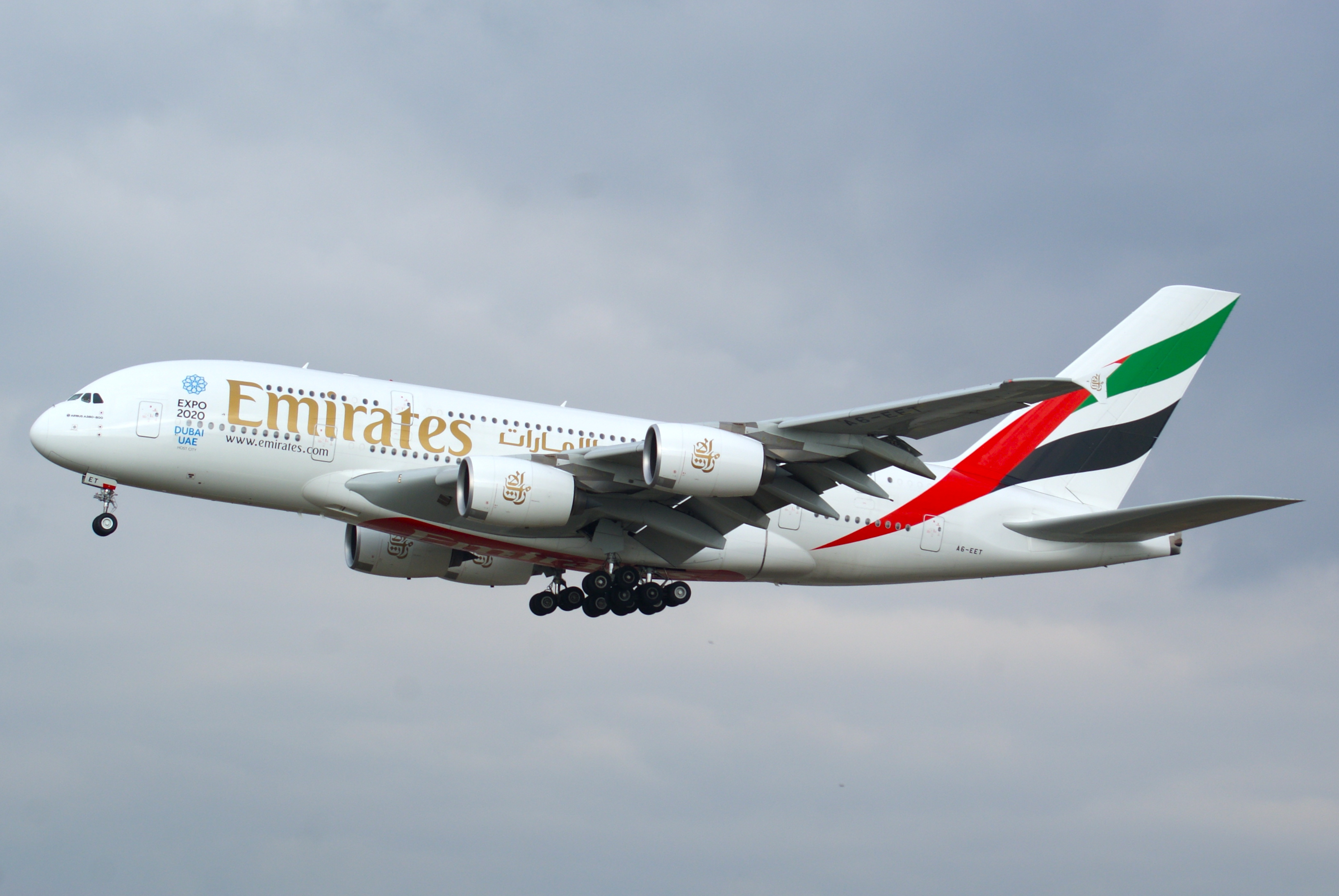 Emirates Airbus A380 approaching Frankfurt Airport